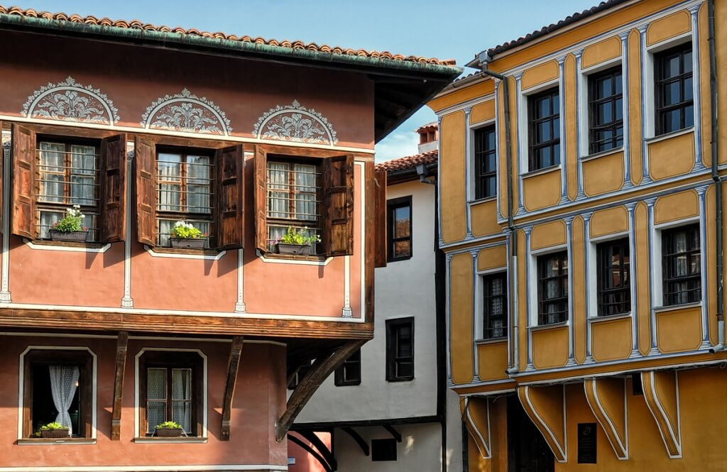 Houses in Old Town of Plovdiv - hosts to the Days of the Young Wine festival