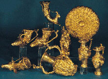 The most famous Thracian golden treasure with vessels to drink wine