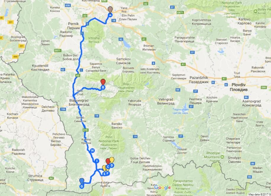 The Wines of Melnik and Struma Valley tour map