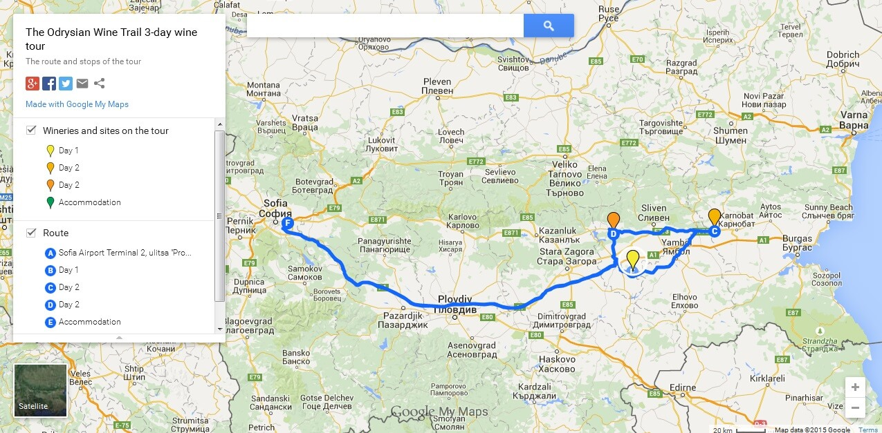 Tour map: Odrysian Wine Trail 3-day tour