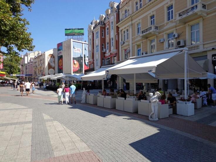 The pedestrian street in Plovdiv