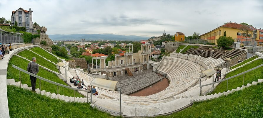 The Amphitheater of Plovdiv on the top of one of the hills