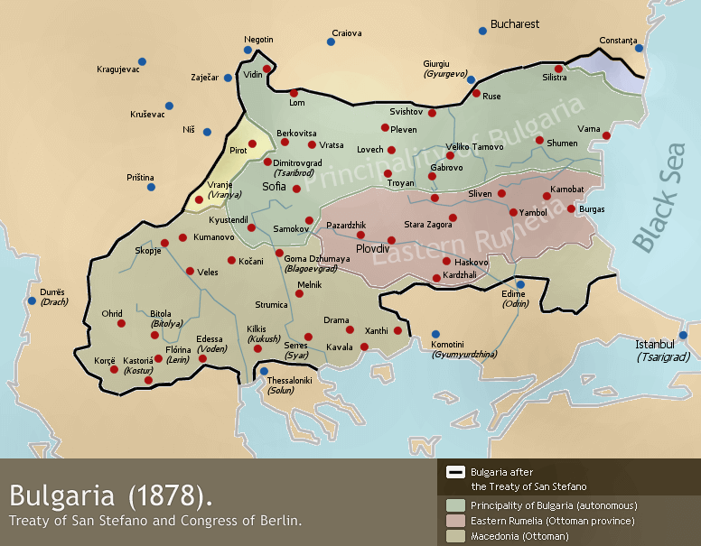 Borders of Bulgaria according to San Stefano treaty and amendments after the Berlin Congress