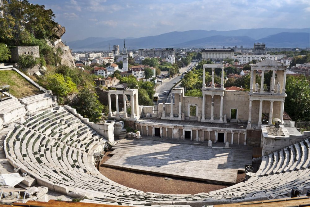 The Amphitheater of Plovdiv in the Old Town
