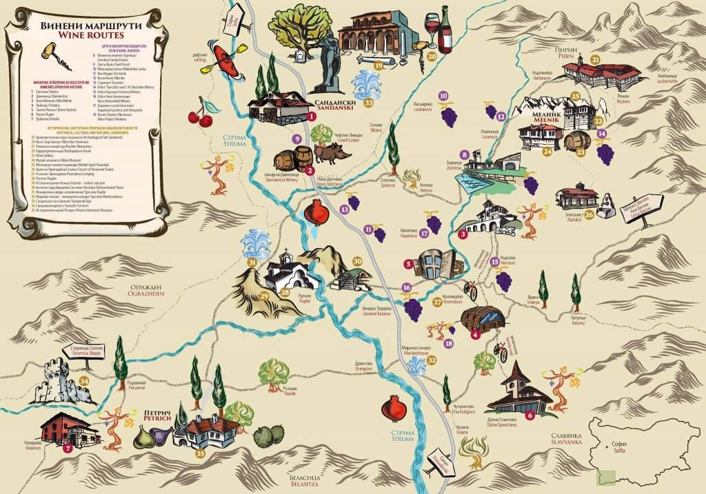 Second Melnik Wine Routes Map