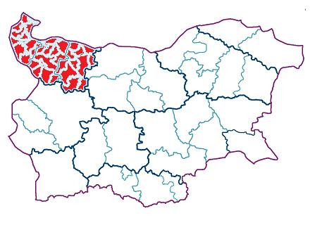 Northwest region of Bulgaria on a map
