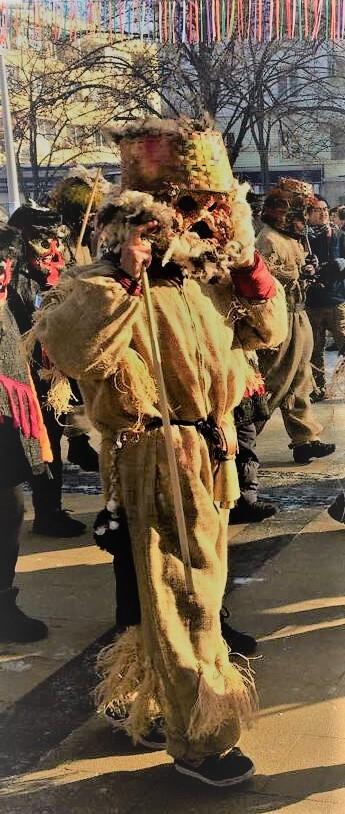 Kukeri Man in Surva Parade
