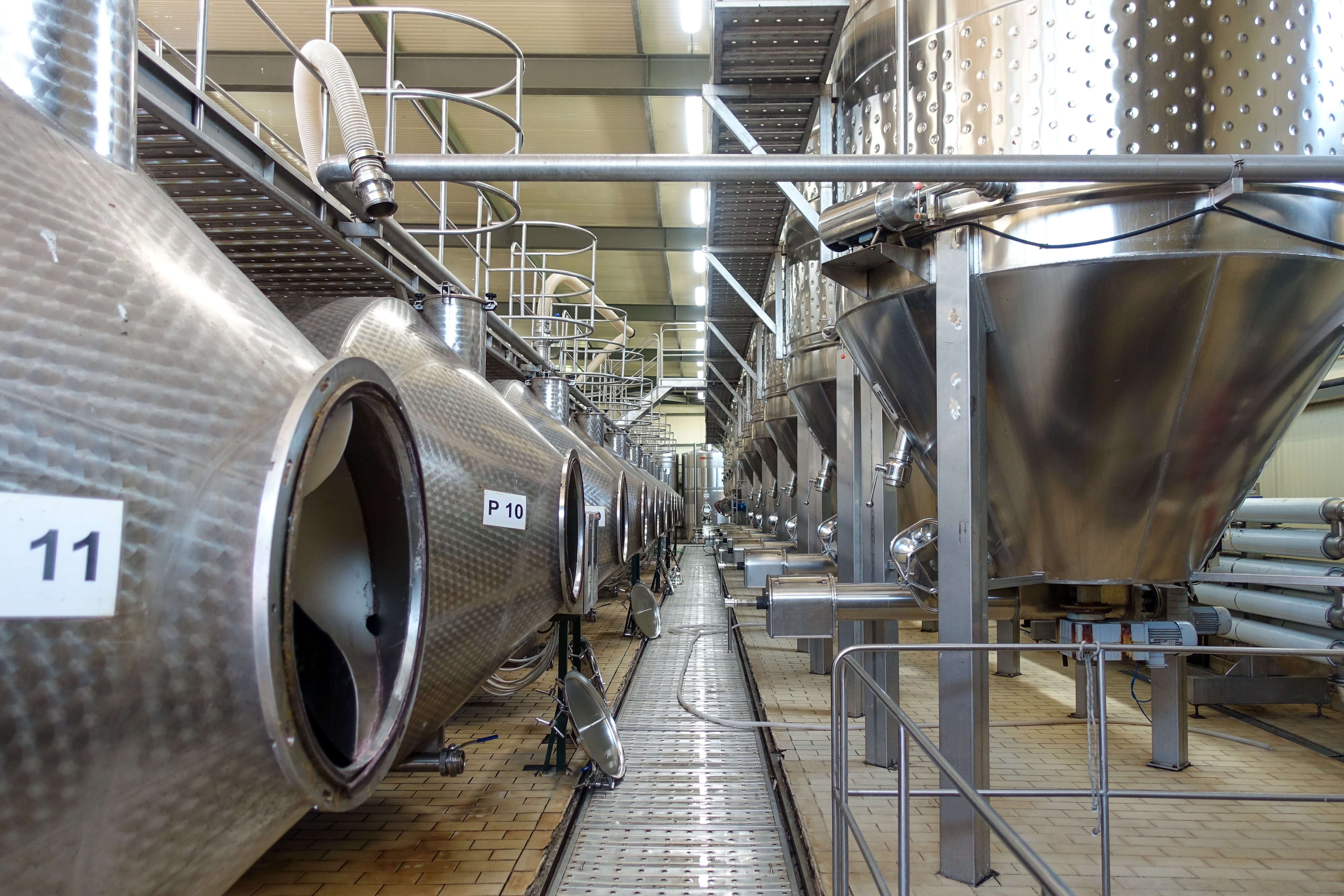 Big stainless steel tanks at Zagreus winery