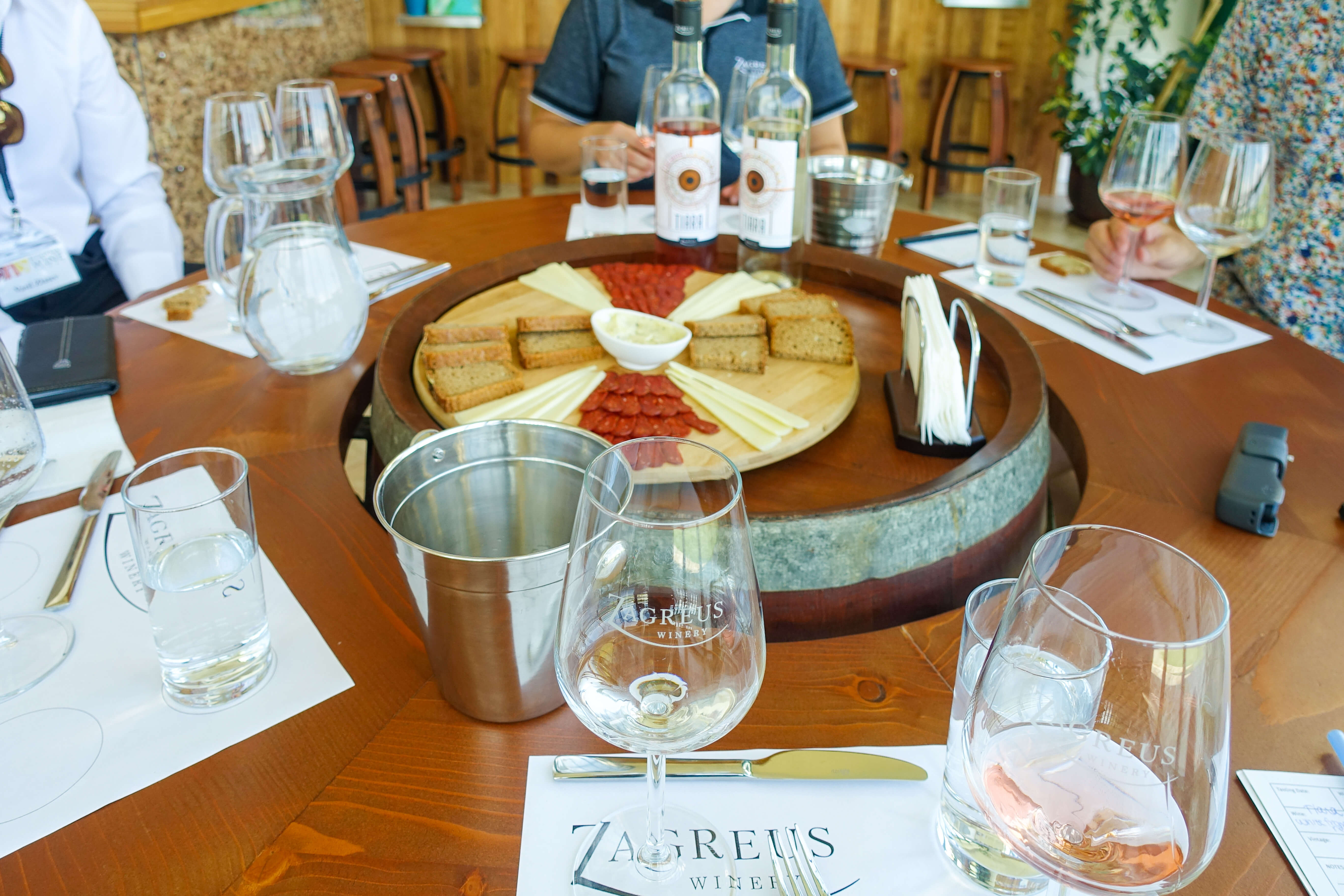 Tasting white and rosé at Zagreus Winery