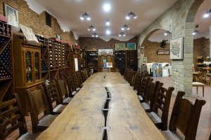 The private tasting room and enoteca of Villa Yustina